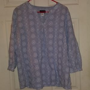 Women's XL cotton tunic with white embroidery